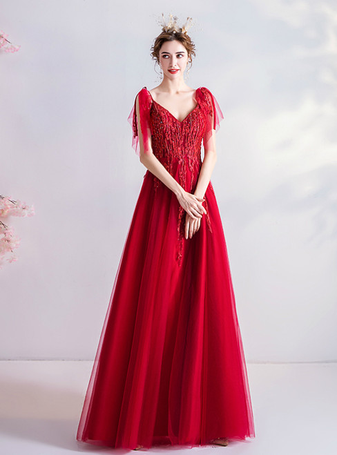 In Stock:Ship in 48 Hours Red Tulle V-neck Beading Prom Dress