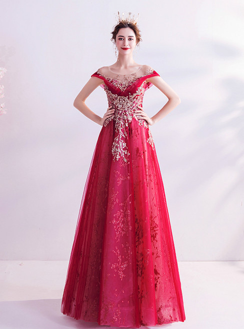 In Stock:Ship in 48 Hours Red Tulle Sequins Cap Sleeve Prom Dress