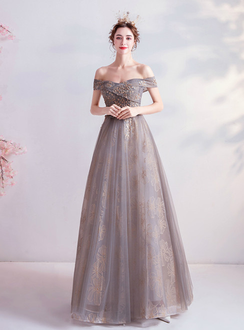 In Stock:Ship in 48 Hours Champagne tulle Off the Shoulder Prom Dress With Beading