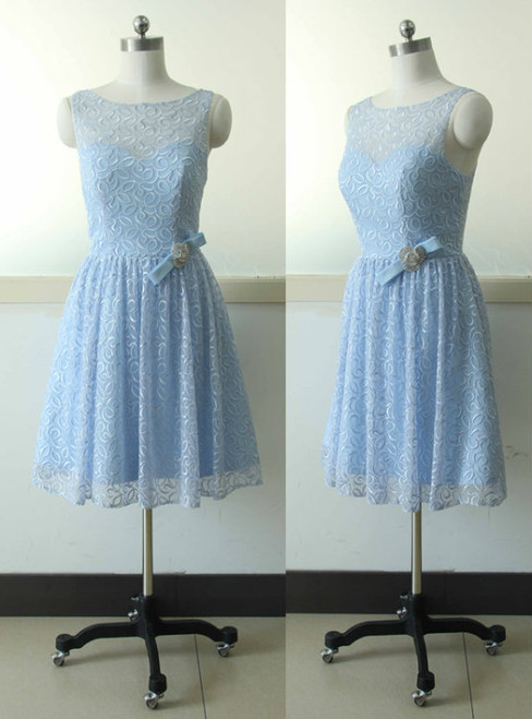 Sleeveless Lace Bridesmaid dress Blue A-line Bridesmaid dress Prom Bridesmaid dress
