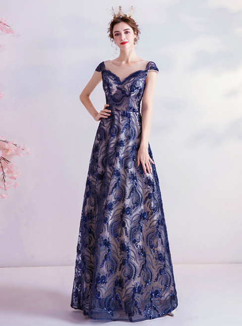 In Stock:Ship in 48 Hours Blue Sequins Appliques Cap Sleeve Prom Dress