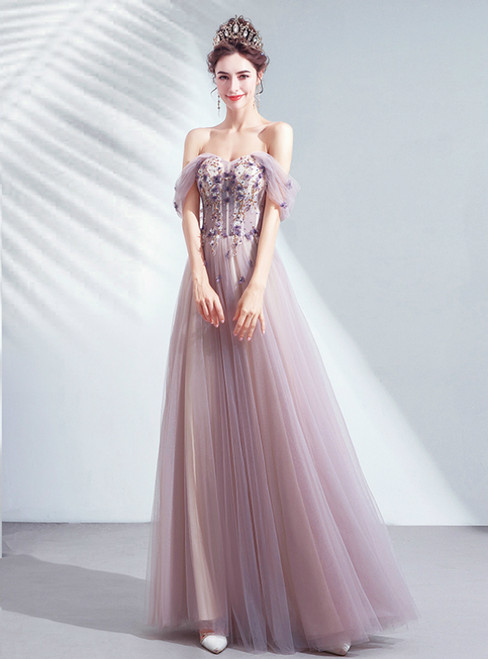 In Stock:Ship in 48 Hours Sexy Purple Tulle Appliques Off the Shoulder Prom Dress