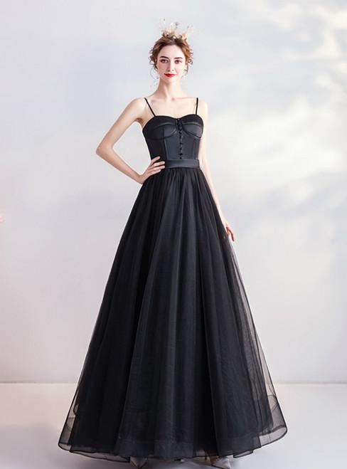 In Stock:Ship in 48 Hours Black Spaghetti Straps Tulle Prom Dress