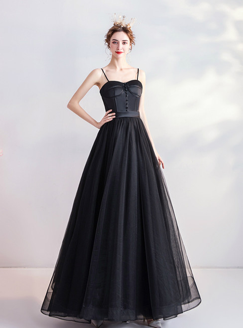 In Stock:Ship in 48 Hours Black Spaghetti Straps Tulle Prom Dress