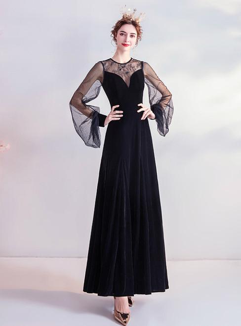 In Stock:Ship in 48 Hours Black Velvet Long Sleeve Prom Dress