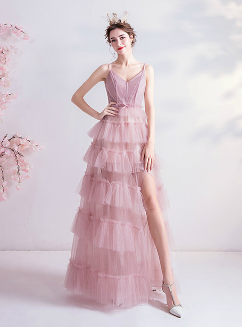 In Stock:Ship in 48 Hours Pink Tulle V-neck Tiers Prom Dress