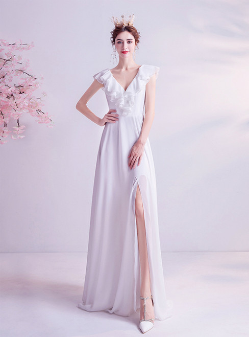 In Stock:Ship in 48 Hours  White Chiffon V-neck Beach Wedding Dress