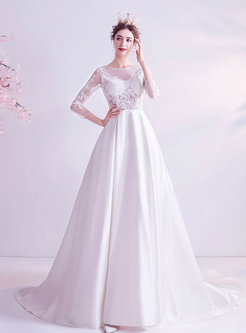 In Stock:Ship in 48 Hours White Satin 3/4 Sleeve Appliques Wedding Dress