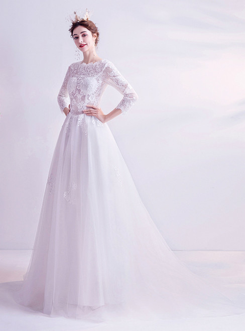 In Stock:Ship in 48 Hours White Tulle Lace 3/4 Sleeve Wedding Dress