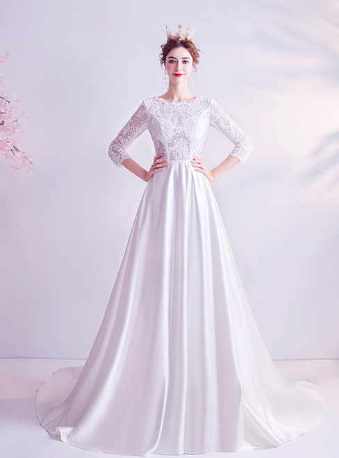 In Stock:Ship in 48 Hours White Satin Lace 3/4 Sleeve Wedding Dress