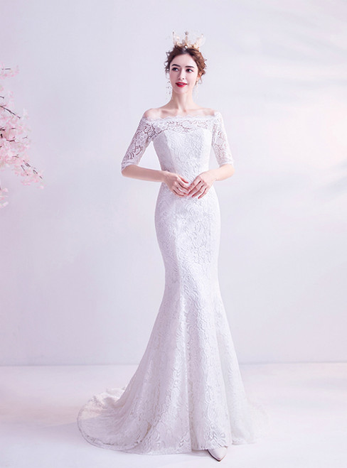 In Stock:Ship in 48 Hours White Mermaid Lace Off the Shoulder Wedding Dress
