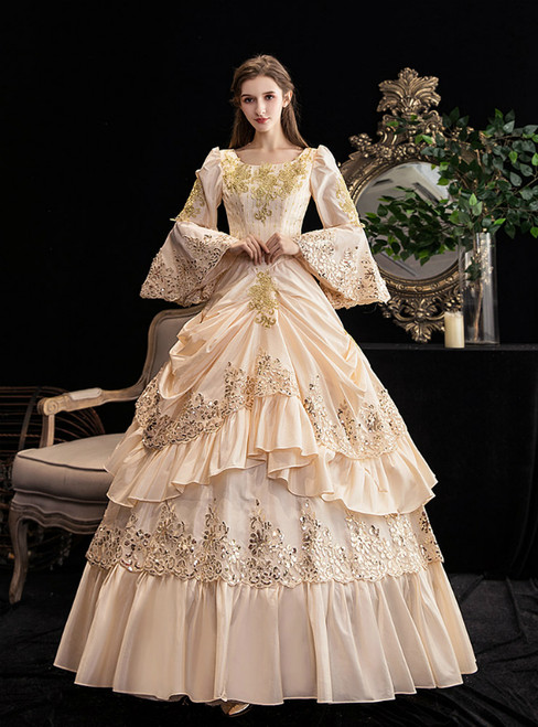 Champagne Ball Gown Sequins Puff Sleeve Drama Show Vintage Gown Dress