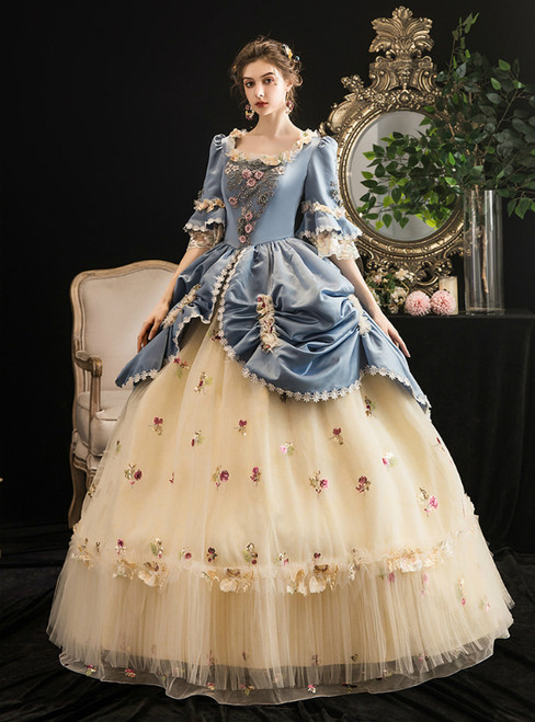 Yellow and Blue Square Ahort Sleeve Appliques Drama Show Vintage Gown Dress