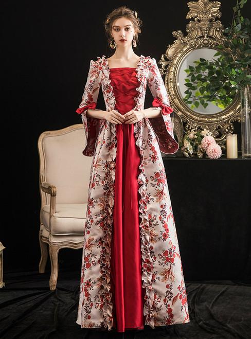 Burgundy Satin Print Square Drama Show Vintage Gown Dress