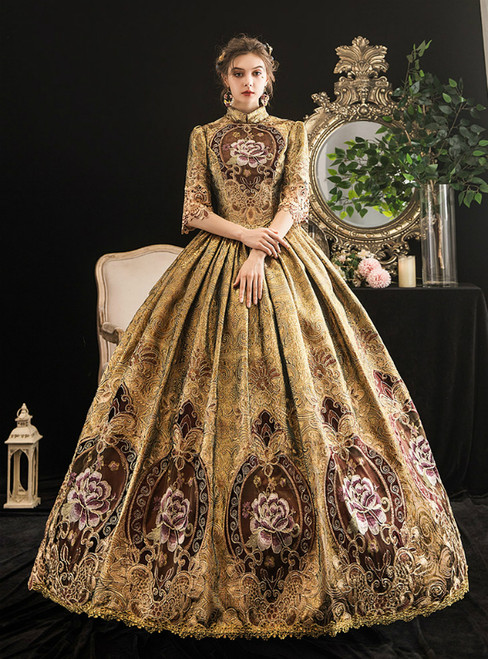 Gold Ball Gown Print High Neck Short Sleeve Drama Show Vintage Gown Dress