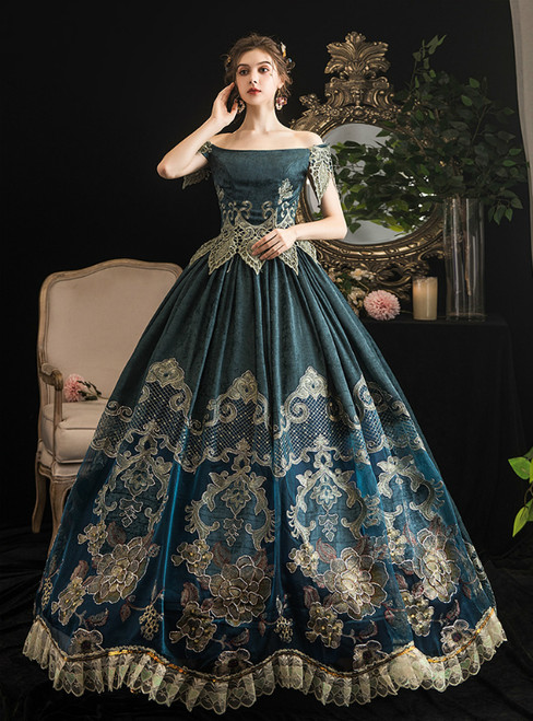Dark Green Ball Gown Lace Appliques Off the Shoulder Drama Show Vintage Gown Dress