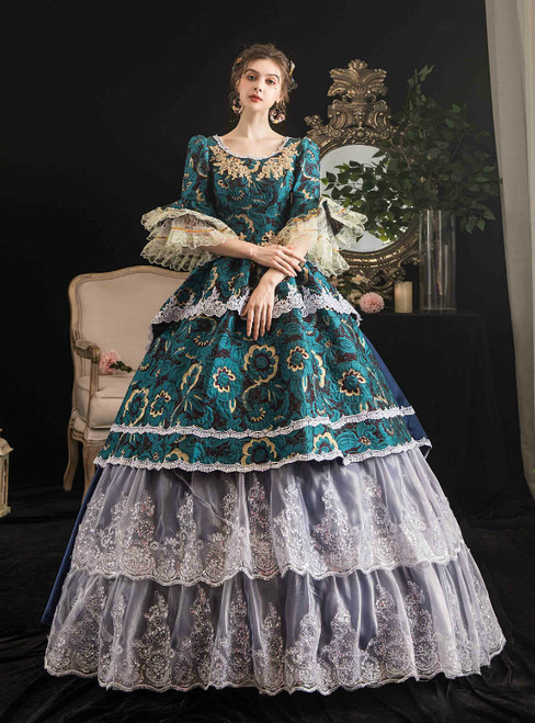 Dark Green Lace Short Sleeve Appliques Drama Show Vintage Gown Dress