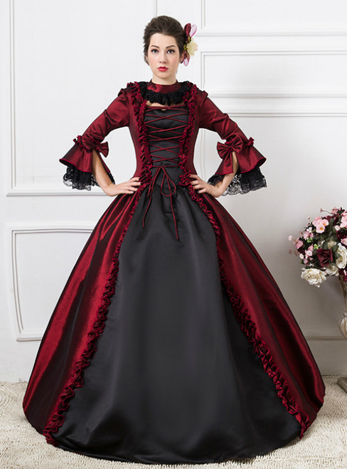 Black And Burgundy Satin Long Sleeve Drama Show Vintage Gown Dress