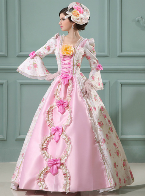 Pink Ball Gown Satin Long Sleeve Print Drama Show Vintage Gown Dress