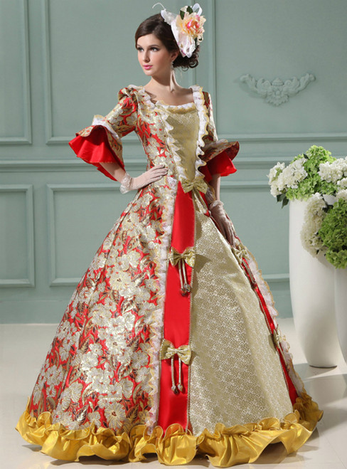 Red Ball Gown Print Short Sleeve Drama Show Vintage Gown Dress