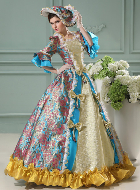 Blue Ball Gown Print Short Sleeve Drama Show Vintage Gown Dress