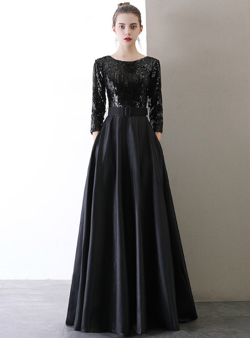In Stock:Ship in 48 Hours Black Satin Sequins Prom Dress With Sash