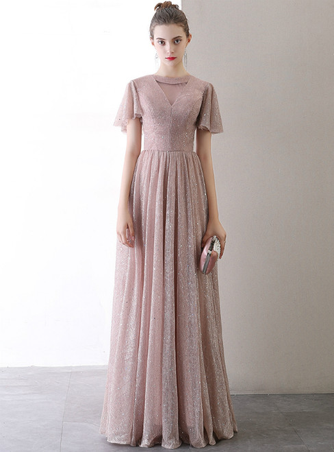 In Stock:Ship in 48 Hours  Pink Tulle Sequins Prom Dress