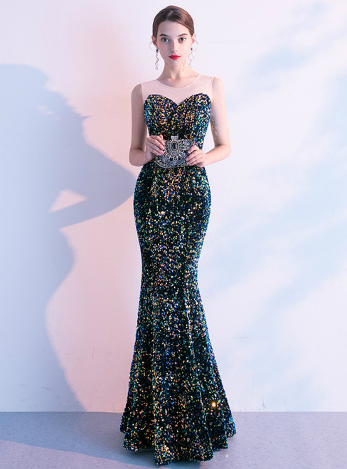 In Stock:Ship in 48 Hours Colorful Mermaid Sequins Sleeveless Prom Dress