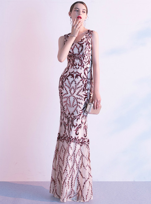 In Stock:Ship in 48 Hours Burgundy Mermaid Sequins V-neck Prom Dress