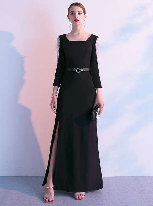 In Stock:Ship in 48 Hours Black Bateau Long Sleeve Sequins Prom Dress