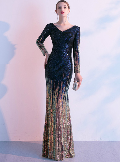 In Stock:Ship in 48 Hours Blue And Gold Mermaid Sequins Long Sleeve Prom Dress