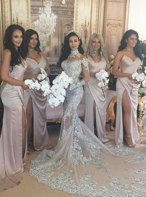 Sexy Spaghetti Side Slit Simple Design Long Bridesmaid Dresses