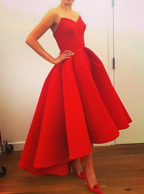 Long Strapless Red Satin High-Low Prom Dress