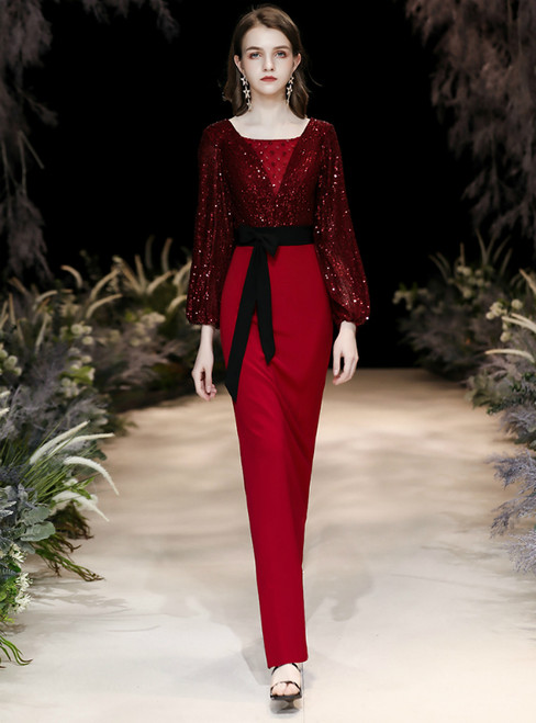 In Stock:Ship in 48 Hours Burgundy Sheath Long Sleeve Sequins Prom Dress