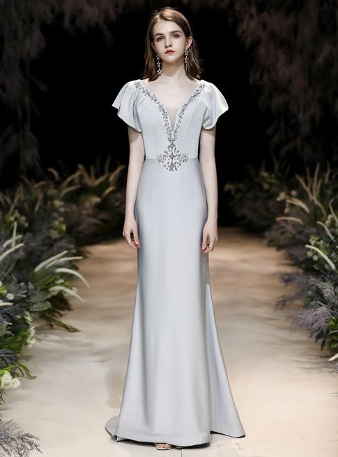 In Stock:Ship in 48 Hours Silver Mermaid Satin V-neck Prom Dress