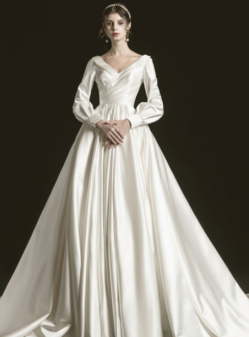 White Ball Gown Satin Backless Long SLeeve Pleats Pearls Wedding Dress