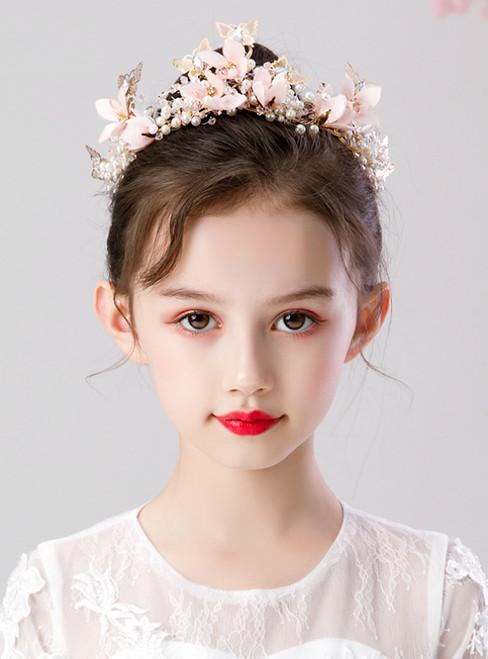 Girls Tiara Princess Crown Pink Butterfly Hairband