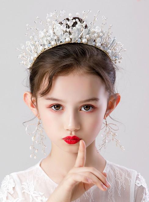 Girls Tiara Princess hairband Crown Earrings Set