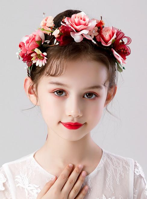 Girls Red Flower Wreath Headdress Flower Girl Hair Accessories