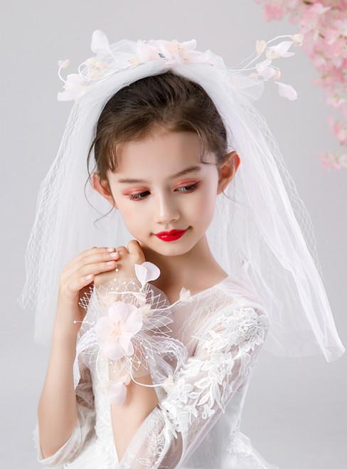 Girls White Yarn Wrist Flower Headdress Set