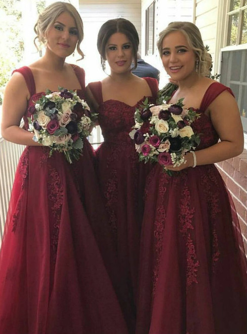 Maroon Strap Long A-line Lace Tulle Bridesmaid Dresses