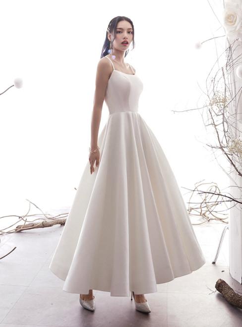 A-Line White Satin Spaghetti Straps Backless Ankle Length Wedding Dress