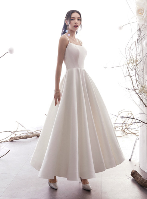 A-Line White Satin Spaghetti Straps Backless Ankle Length Wedding Dress