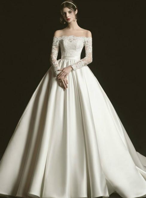Ivory White Satin Lace Off the Shoulder Long Sleeve Wedding Dress