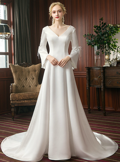 A-Line White Satin V-neck Long Sleeve Wedding Dress