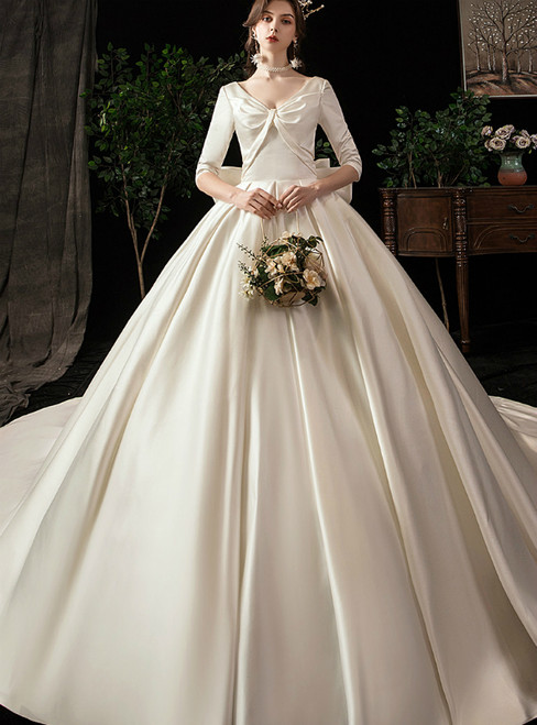 Ivory Ball Gown Satin V-neck Half Sleeve Wedding Dress With Bow