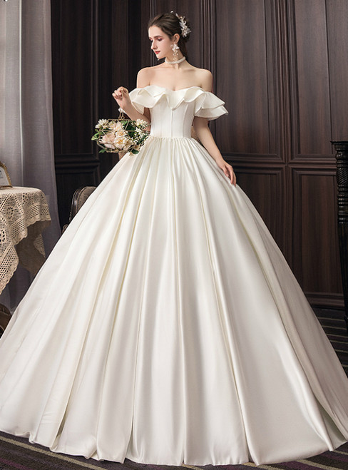Ivory White Satin Ball Gown Off the Shoulder Wedding Dress