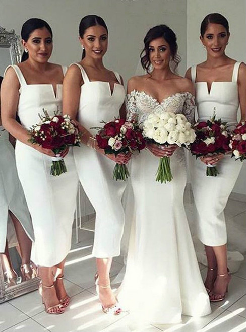 Simple Cheap Unique White Off Shoulder Straight V Neck Sexy Tea Length Bridesmaid Dresses