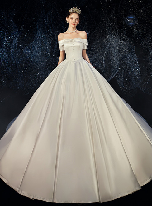 White Ball Gown Saton Short Sleeve Off the Shoulder Wedding Dress
