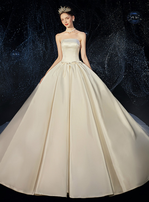Ivory White Ball Gown Satin Strapless Wedding Dress With Pocket